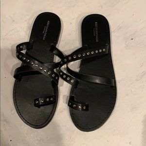 Black leather sandals w/silver studs SZ 7